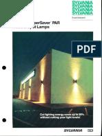 Sylvania Incandescent PAR-38 Supersaver Lamps Bulletin