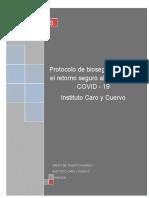 PROTOCOLO BIOSEGURIDAD POR COVID - 19