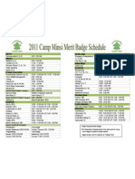 Camp Minsi 2011 - Merit Badge Schedule