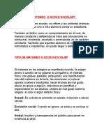 QUE ES EL MATONEO  O ACOSO ESCOLAR (2)