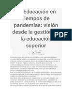 La Educación en tiempos de pandemias