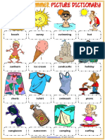 summer vocabulary esl picture dictionary worksheet for kids