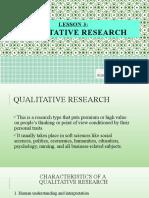 LESSON 3 - QUALITATIVE RESEARCH
