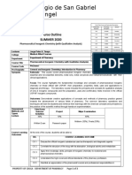 Course Outline - Pharmaceuticacl Chemistry I - SUMMER 2020