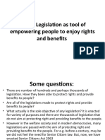 Use of legislation-rights and benefits