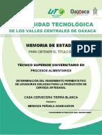 DETERMINACIÓN DEL RENDIMIENTO FERMENTATIVO DE LEVADURAS AISLADAS PARA LA PRODUCCIÓN DE CERVEZA ARTESANAL
