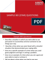 HRM Section 4A Sample BEI  (STAR) questions