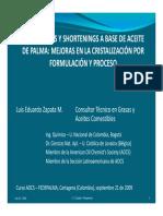 Margarinas y shortenings a base de aceite de palma - Mejoras en la cristalización por formulación y proceso
