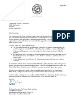 Mayor Dee Margo's letter to the El Paso County judge