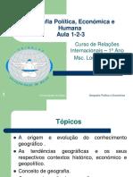 Geografia Politica e Económica Aula - Aula Introdutória-1-2-3 Estudantes