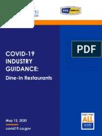California COVID-19 guidance for dine-in restaurants