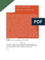 REPORTE Y DECLARACIÓN JURAMENTADA DE ESTADO DE SALUD