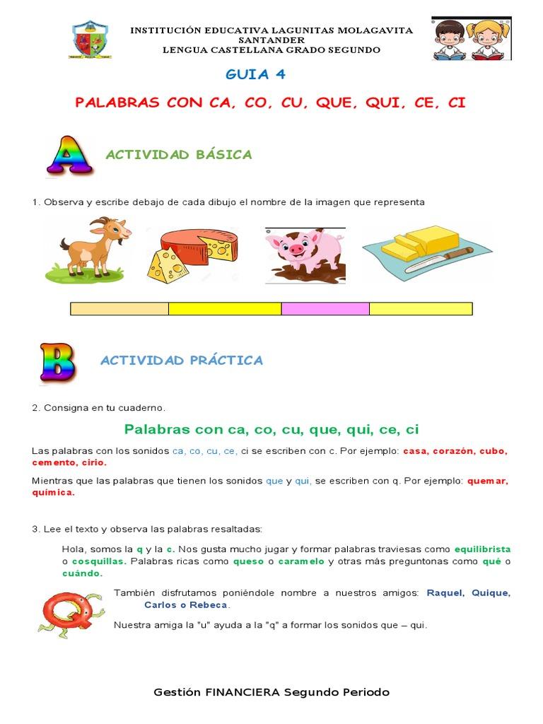 Guia 4 Español 2 Palabras Con Ca Co Cu Que Qui Ce Ci Naturaleza