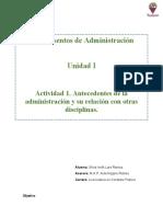 Antecedentes de la administración y su relación con otras disciplinas.
