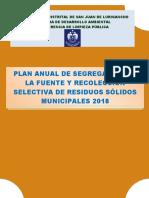 PLAN ANUAL DE SEGREGACION 2018