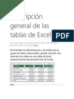 Descripción general de las tablas de Excel