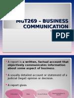 MGT269 – BUSINESS COMMUNICATION (3)(Report)