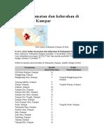 Daftar kecamatan dan kelurahan di Kabupaten Kampar