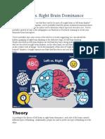 Left Brain vs Right Brain Thoery of Crativity