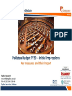 Pakistan Budget FY20 – Initial Impressions