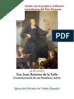 14 de Mayo. San Juan Bautista de La Salle. Propio y Ordinario de la santa Misa