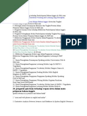 100 Judul Skripsi Bahasa Inggris Kalimat Linguistik