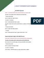 SAP SELECT STATEMENT