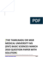 Tamilnadu Dr MGR Medical University MS ENT Basic sciences march 2010 question paper with solution