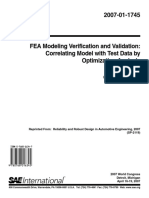 FEA Modeling Verification and Validation - Correlating Model with Test Data by Optimization Analysis