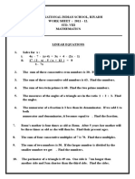 CBSE Class 8 Linear Equations in One Variable Worksheet (2)