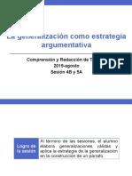 4B y 5A -100000N01I La generalización como estrategia argumentativa (diapositivas) 2019-agosto