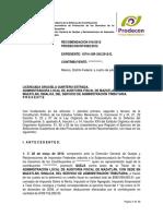 Testado con Autoridad RECOMENDACIÓN 16-2012 ALEACIONES METALÚRGICAS DE MÉXICO