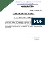 Comunicado de Prensa UTA.13-05