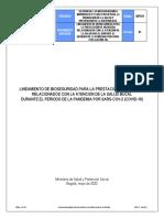 Gips31 Lineamiento de Bioseguridad Para La Prestación de Servicios Relacionados Con La Atención de La Salud Bucal Durante El Periodo de La Pandemia Por Sarscov-2 (Covid-19)