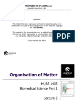 HUBS1403 - Biomedical Science 1 - Lecture 2. Organisation of Matter