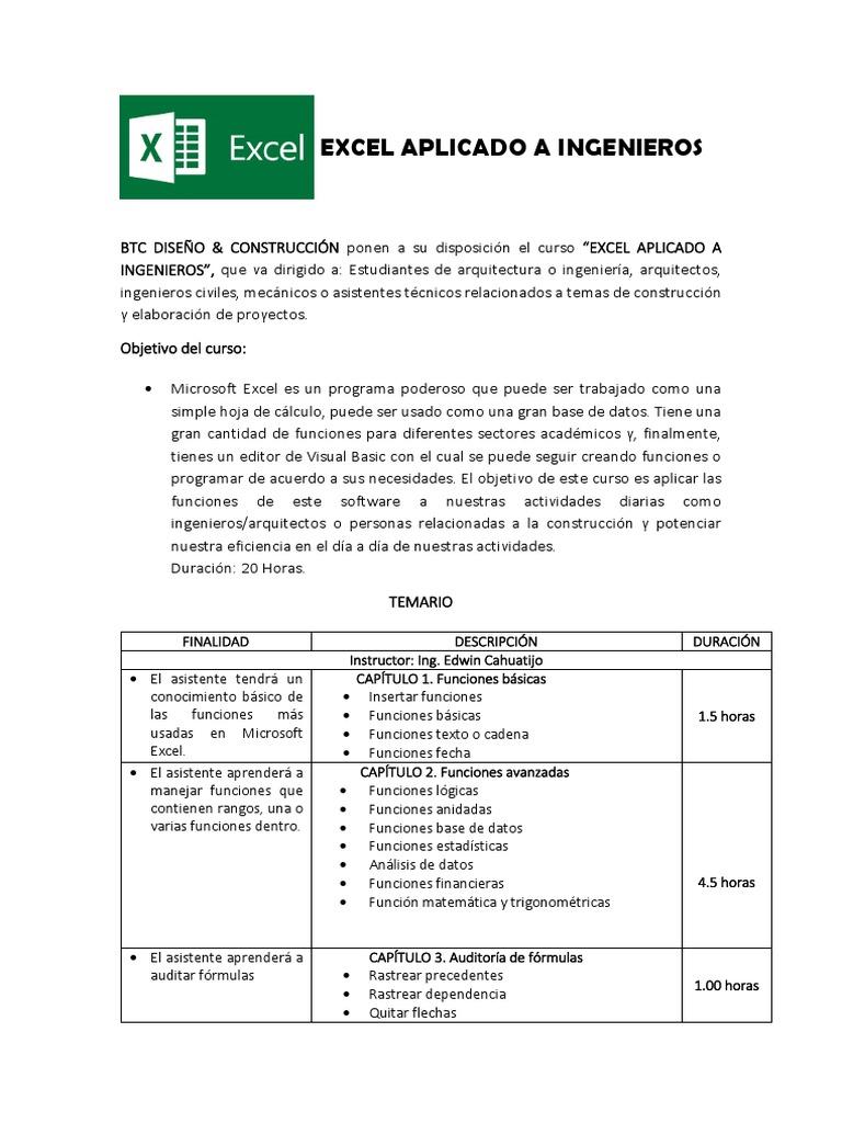 Temario Excel para Ingenieros PDF   Microsoft Excel   Básico