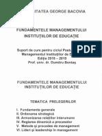 Fundamentele Managementului Institutiilor de Educatie