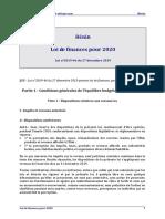 LOI DES FINANCES POUR 2020