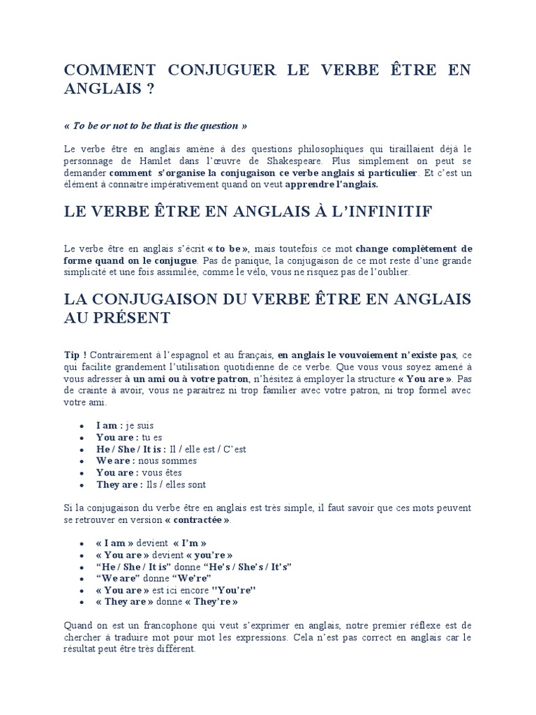 Comment Conjuguer Le Verbe Etre En Anglais To Be Or Not To Be That Is The Question Syntaxe Morphologie Linguistique
