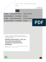 GENDER AND FAMILY TYPE AS FACTORS INFLUENCING ASSERTIVE BEHAVIOR OF WORKERS - Project Topics for Student