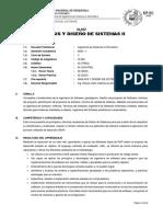 SILABO 2020-I ANALISIS Y DISENO DE SISTEMAS II