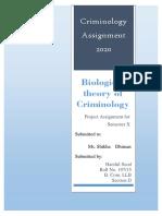 Biological theory of Criminology- Harshil Sood