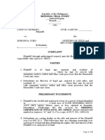 complaint sample for quieting of title and recovery of possession