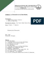 Trabajo sobre Historia de la Educacion. Edad Media y Edad Alta y Baja