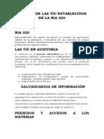 RIESGOS DE LAS TIC ESTABLECIDOS EN LA NIA 320