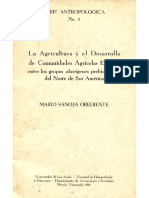 La agricultura y el desarrollo de comunidades agrícolas estables entre los grupos aborigenes prehispanicos del norte de Sur America, Mario Sanoja Obediente, 1966