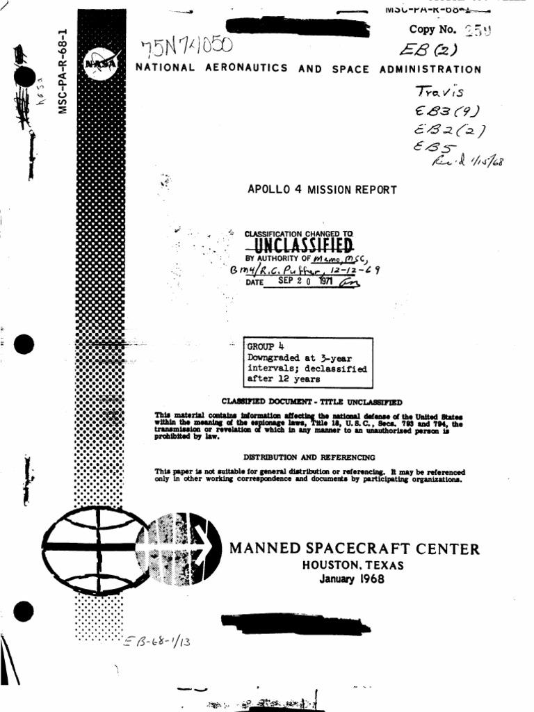 Apollo 4 Mission Report Command Service Module Program Pfs 4400 Well Pump Wiring Diagram