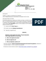 Grado 3 Ingles Actividad de Comprensión de Lectura 27 al 30 de Abril