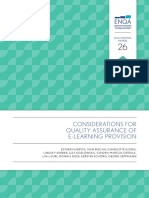 Considerations for QA of e-learning provision