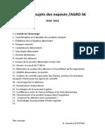 liste des sujets d'exposes proposés 2019